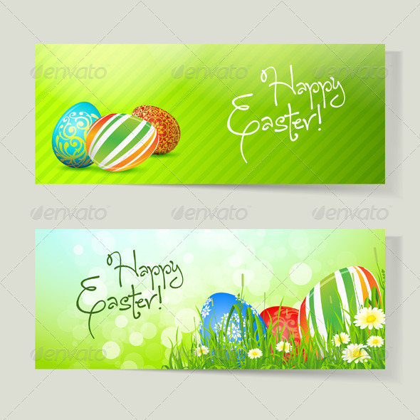 Set of Easter Cards with Eggs - Miscellaneous Seasons/Holidays