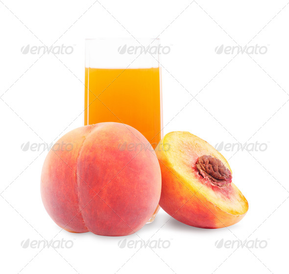 PhotoDune Peach fruit juice in glass 4096478