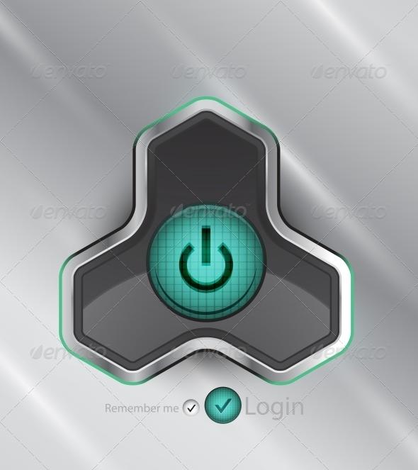 GraphicRiver Vector Futuristic Power Button 4097015