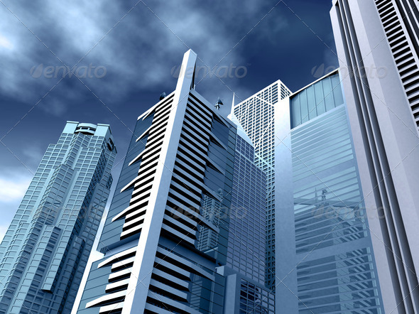 corporate buildings in blue tones - Stock Photo - Images