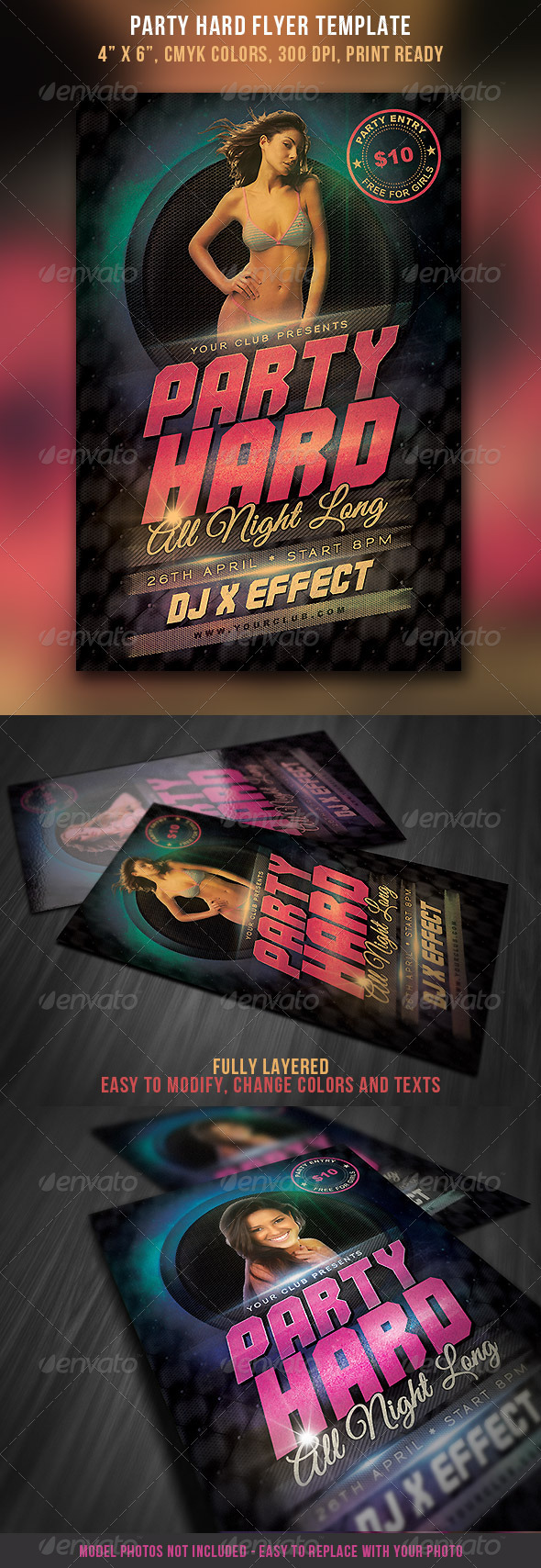 Party Hard Flyer Template - Clubs & Parties Events