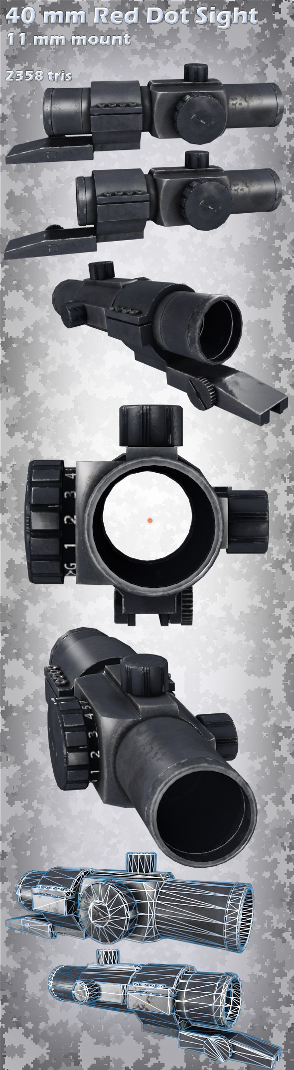 3DOcean 40mm Red Dot Sight with 11mm mount 4097529