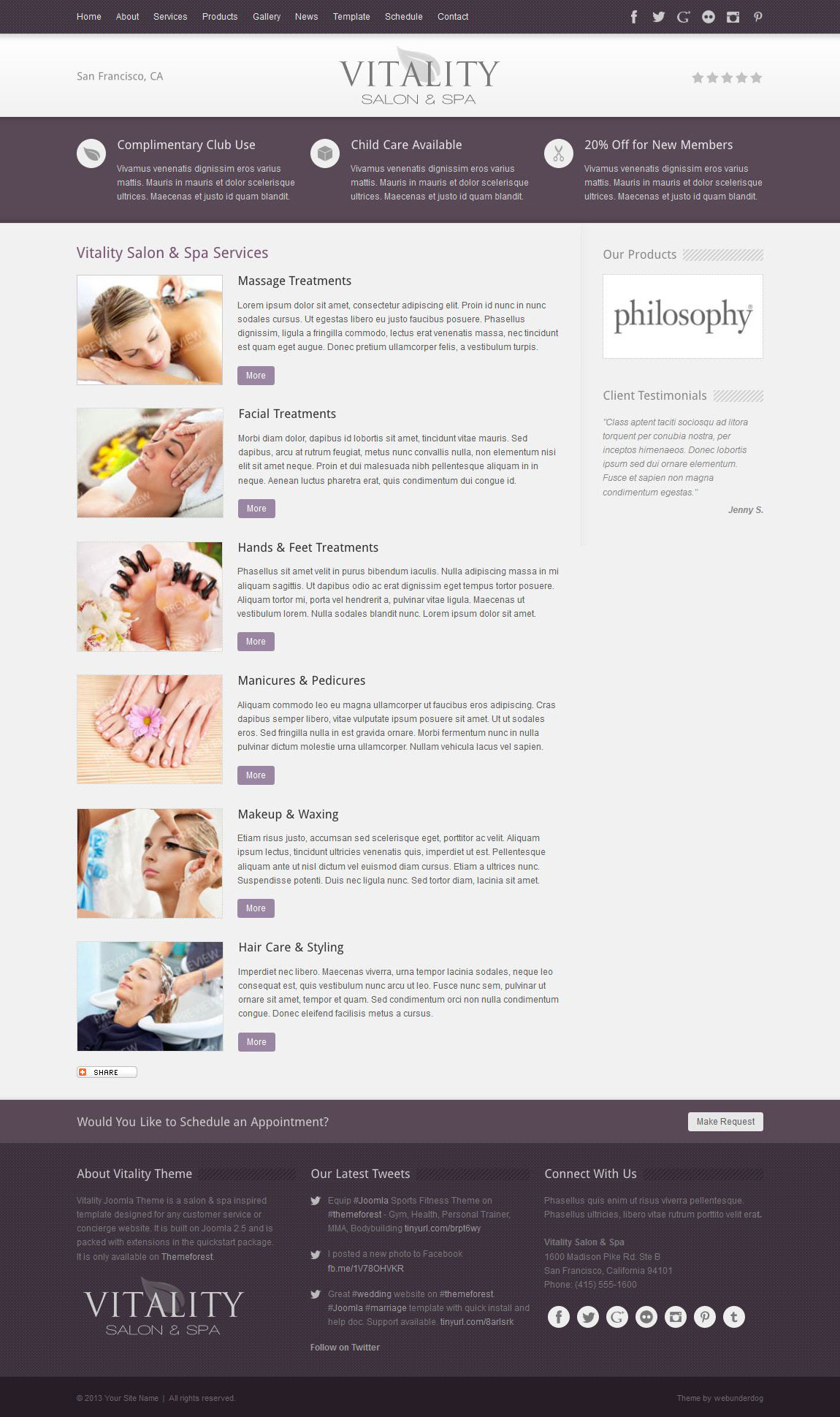 Vitality Joomla Health & Beauty Salon Theme