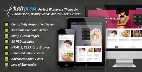ThemeForest Hairpress Wordpress Theme for Hair Salons 4099496