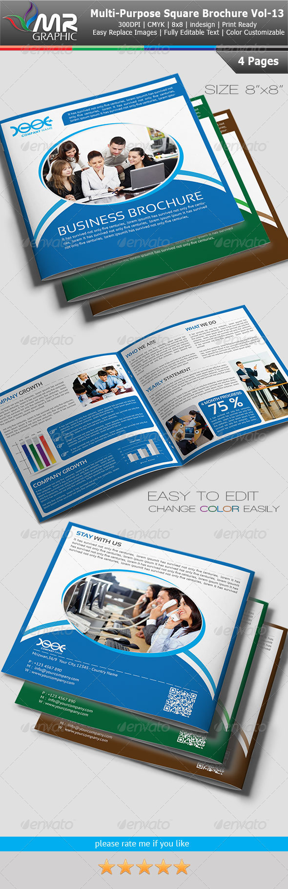GraphicRiver Multipurpose Square Business Brochure Vol-13 4099641