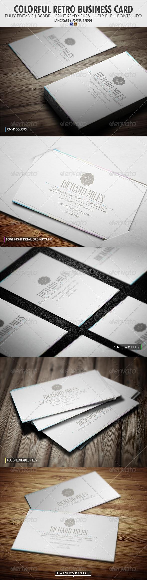 GraphicRiver Colorful Retro Business Card 4100100