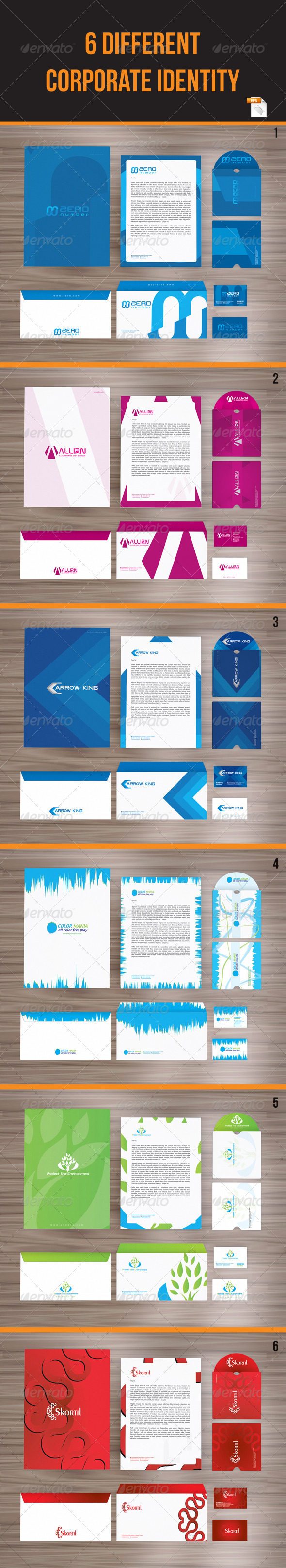 GraphicRiver 6 in 1 Packages Corporate Identity 3973410