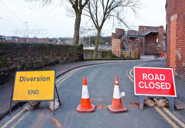 PhotoDune British Road closed and diversion sign 4101979
