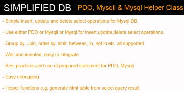 CodeCanyon Simplified DB PDO Mysqli Mysql Helper Class 3928442