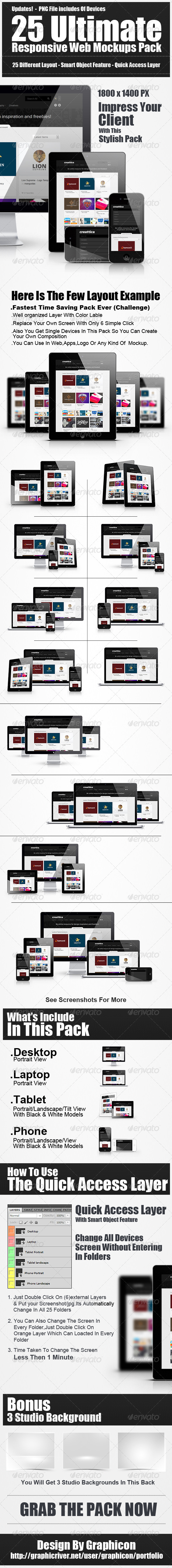 25 Ultimate Web Responsive Mockup Pack - Multiple Displays