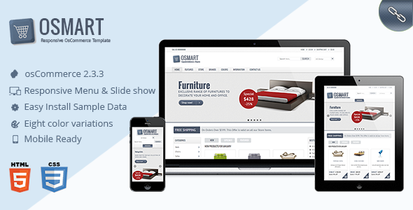 OSMART is responsive OsCommerce template packaged with quick starter sample data and responsive theme.