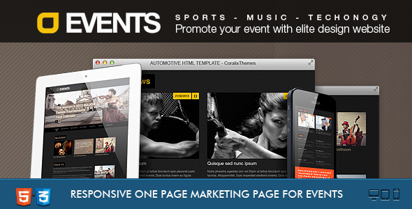 ThemeForest Events Music Sport Techno HTML5 CSS3 4103230
