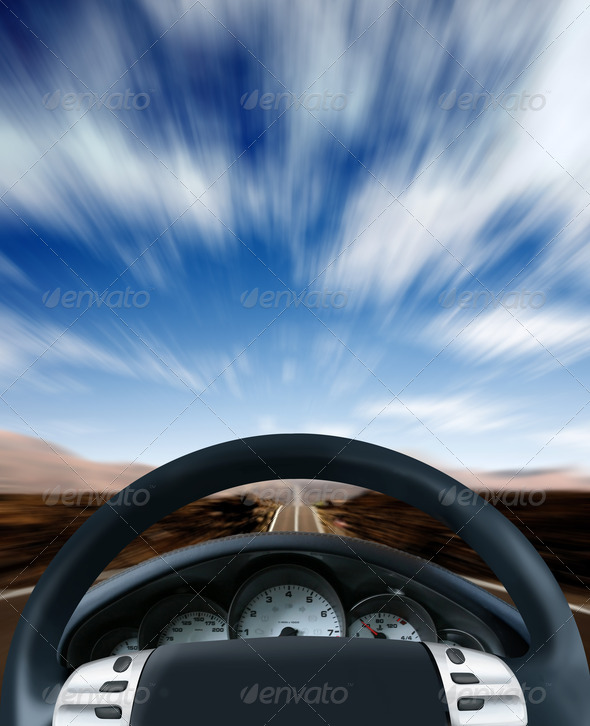 Steering wheel on a highway - Stock Photo - Images