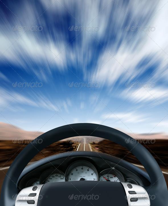 PhotoDune Steering wheel on a highway 443579