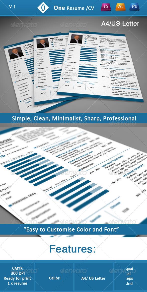 GraphicRiver One Resume CV 3941584