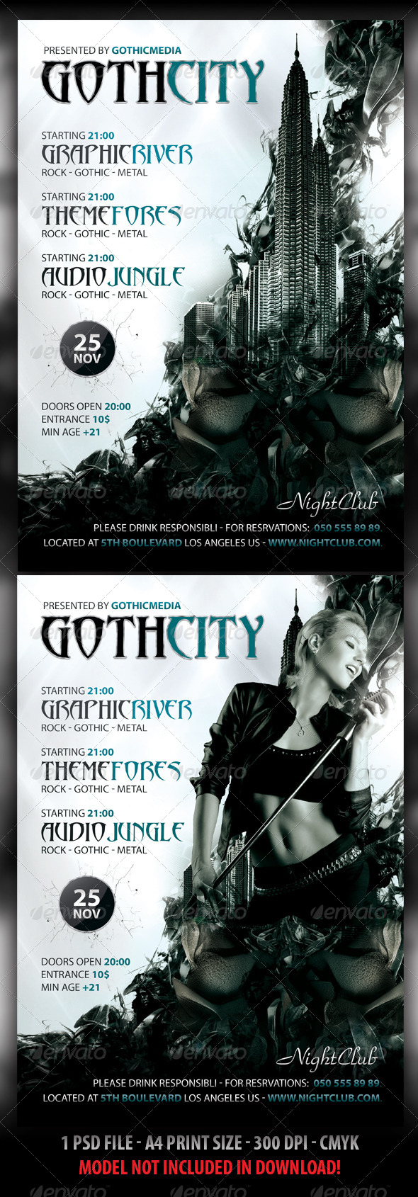 GraphicRiver Rock Gothic City Party Concert Flyer A4 3986629