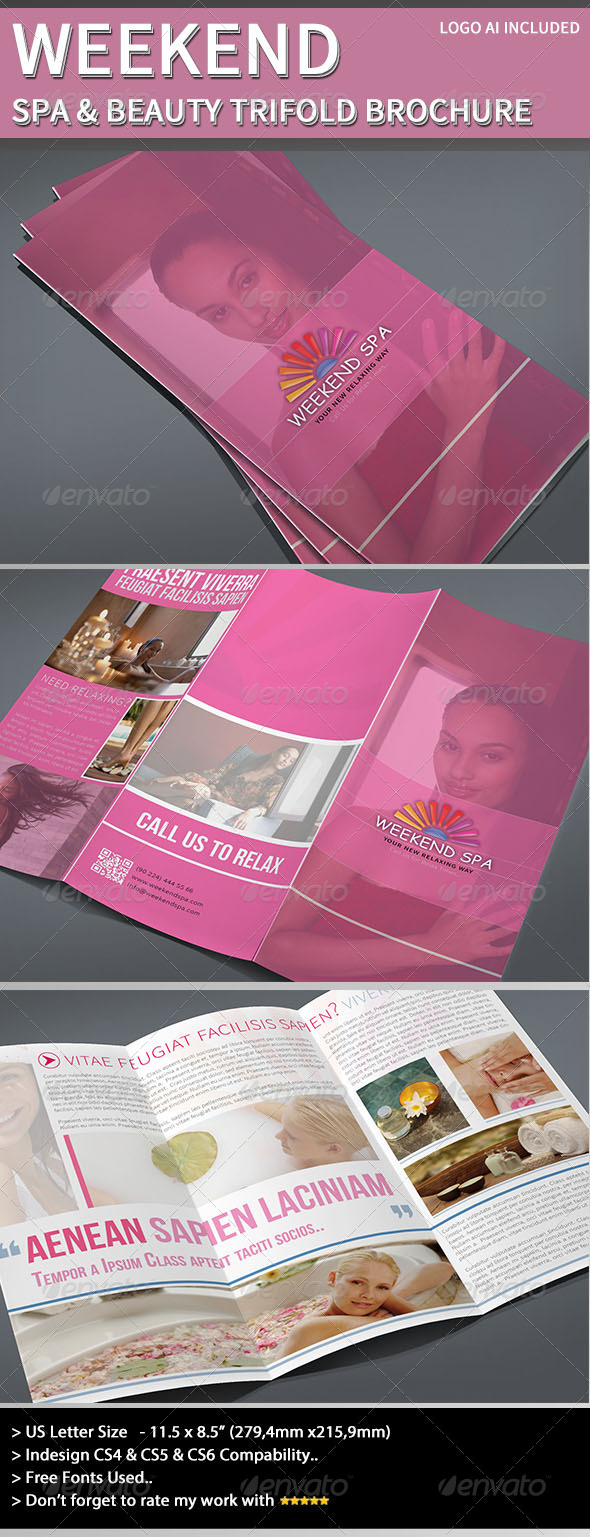 GraphicRiver Trifold Brochure Weekend Spa 4105733