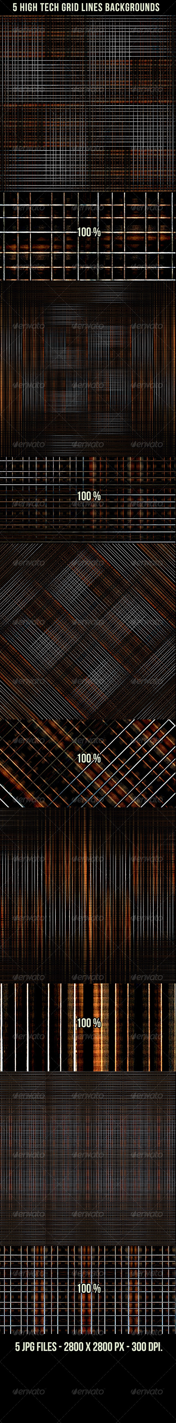 GraphicRiver 5 High Tech Grid Lines Backgrounds 4105832