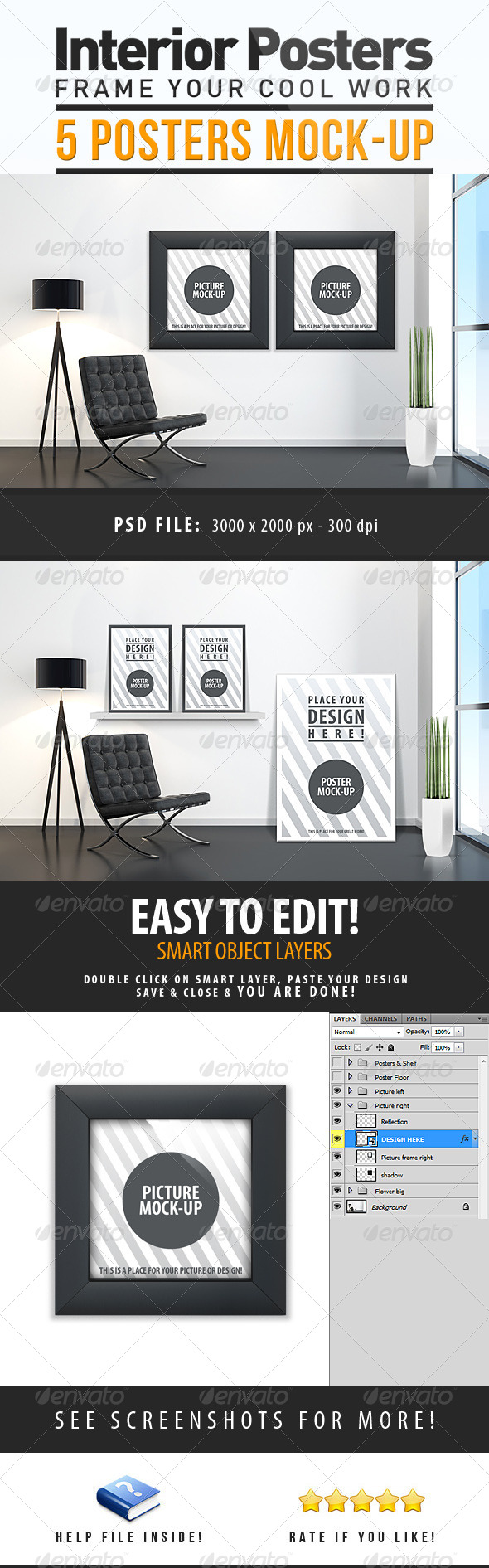 GraphicRiver Interior Posters Mock-Up 4106400