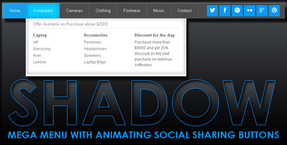 Shadow Mega Menu With Social Share - CodeCanyon Item for Sale