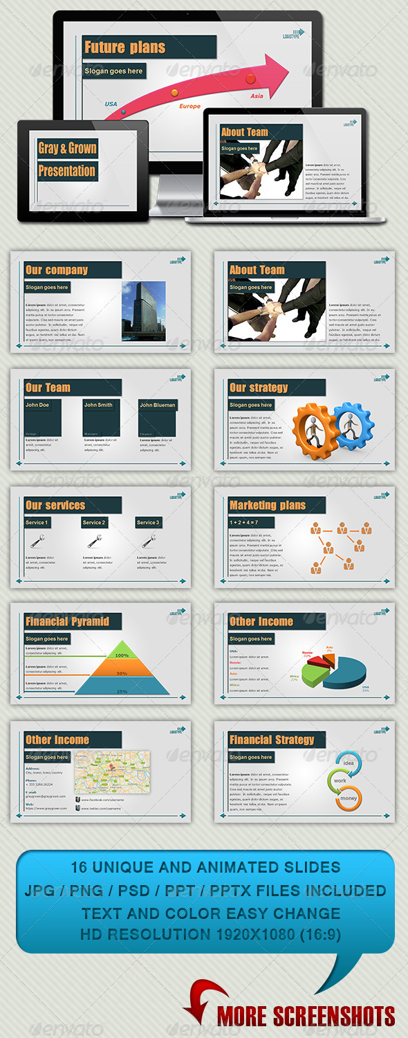 GraphicRiver Gray & Grown Powerpoint Presentation 3883152
