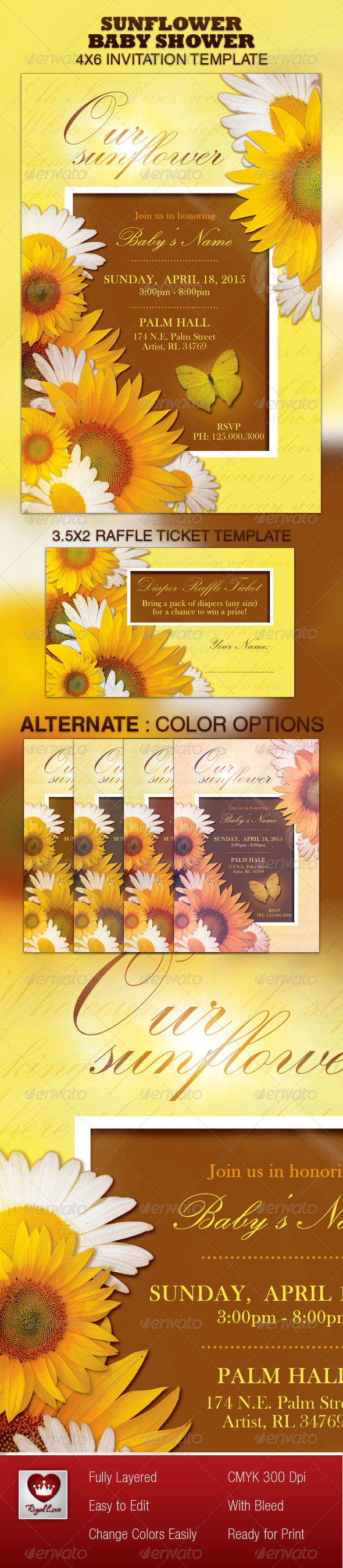 GraphicRiver Sunflower Baby Shower Invitation & Raffle Ticket 4107349