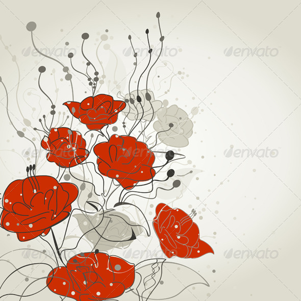 GraphicRiver Red Flower 4107762