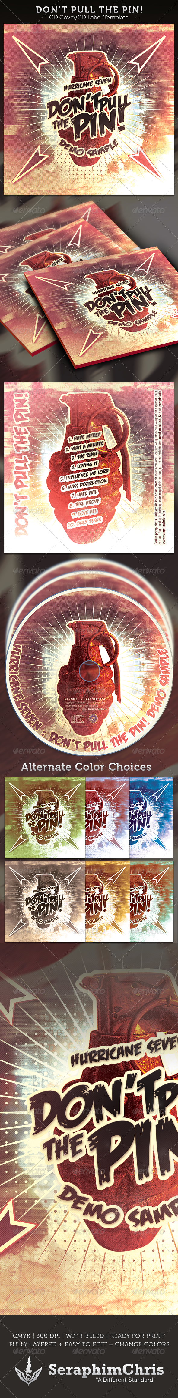 Don't Pull the Pin! CD Cover Artwork Template - CD & DVD artwork Print Templates