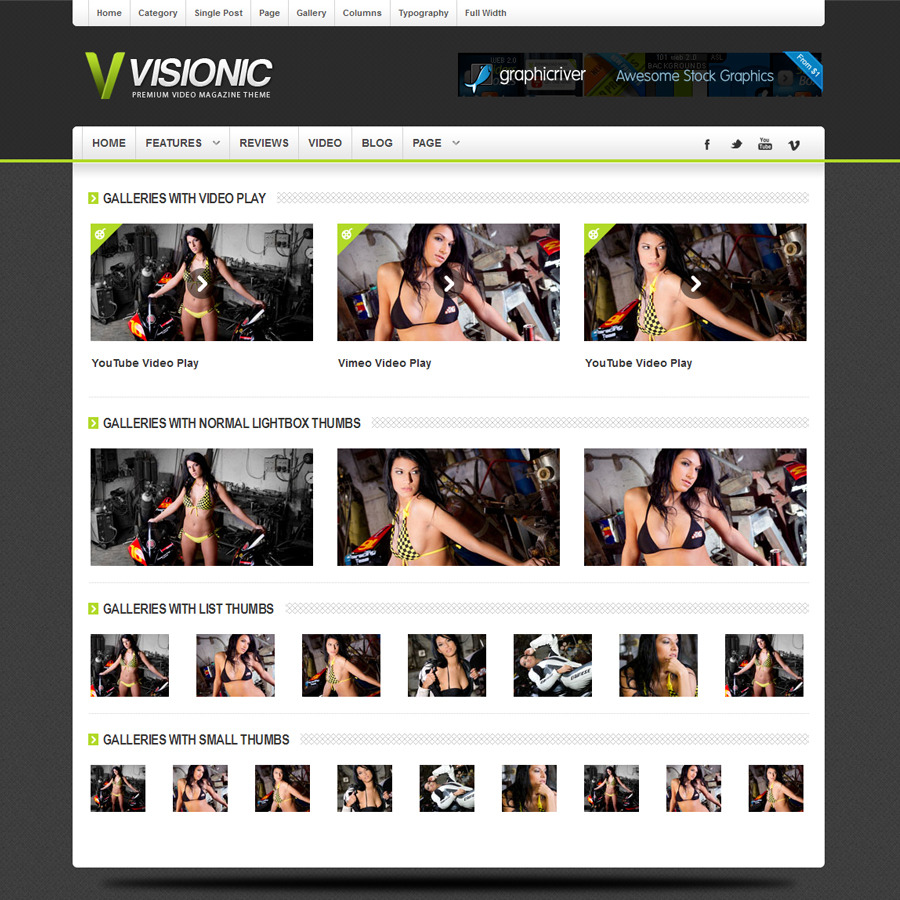 Visionic Video Magazine HTML Template - Visionic Video Theme Gallery Layout Screenshot 4