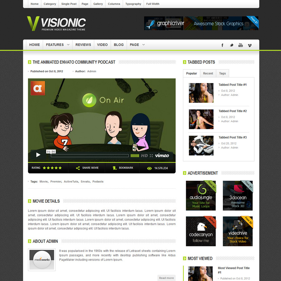 Visionic Video Magazine HTML Template - Visionic Video Theme Single Post Layout Screenshot 5