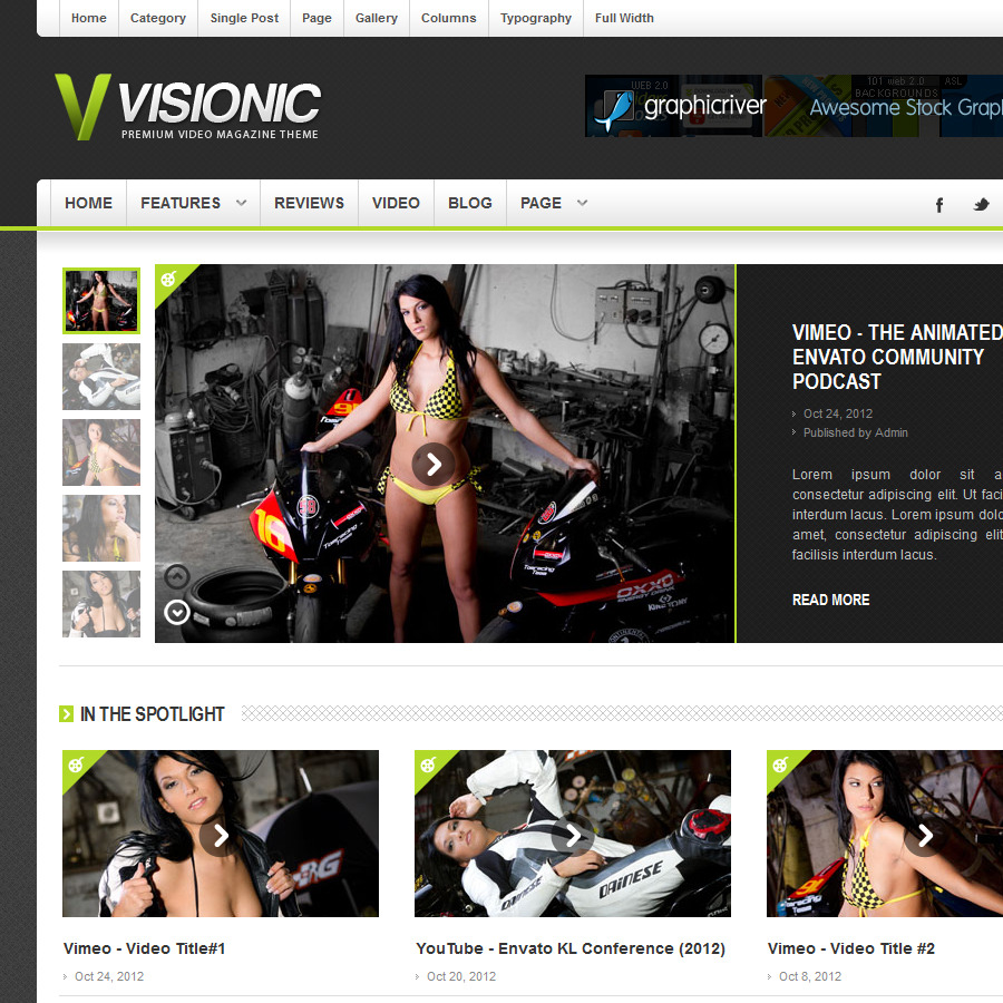 Visionic Video Magazine HTML Template - Visionic Video Theme CloseUp Screenshot 6