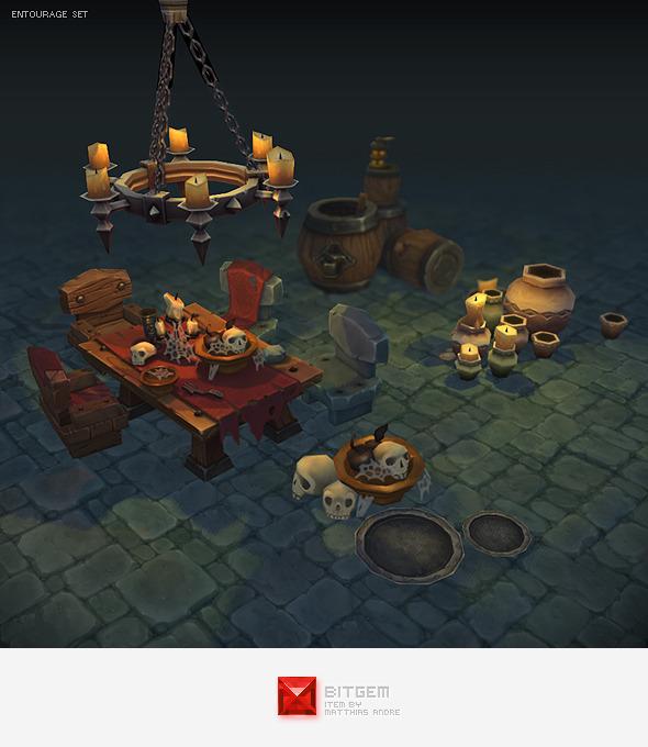 3DOcean Low Poly Dungeon Entourage Set 4108934