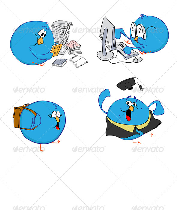 GraphicRiver Four Blue Birds Education 4109398