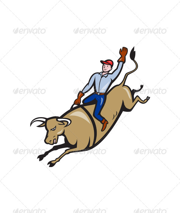 GraphicRiver Rodeo Cowboy Bull Riding Retro 4110057