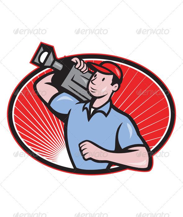 GraphicRiver Cameraman Film Crew Carry Camera 4110080