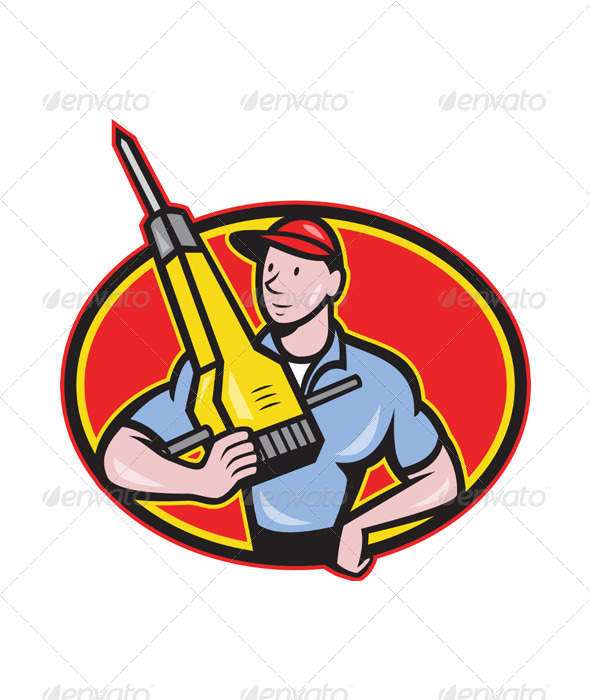 GraphicRiver Construction Worker Jackhammer Pneumatic Drill 4110128