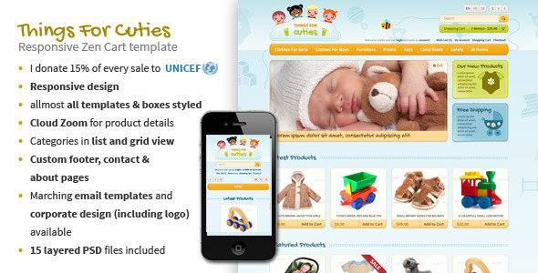 ThingsforCuties Responsive Zen Cart Baby Template - Zen Cart eCommerce