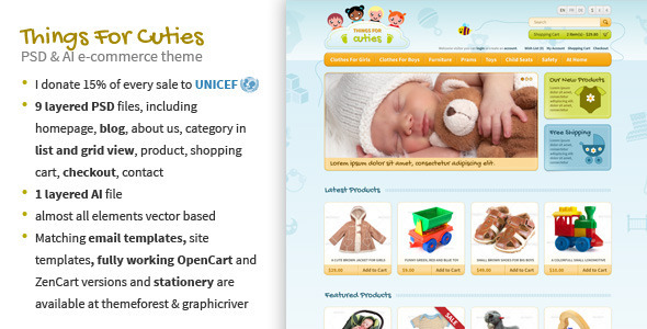 Things for Cuties - E-Commerce Baby Shop Template - Children Retail