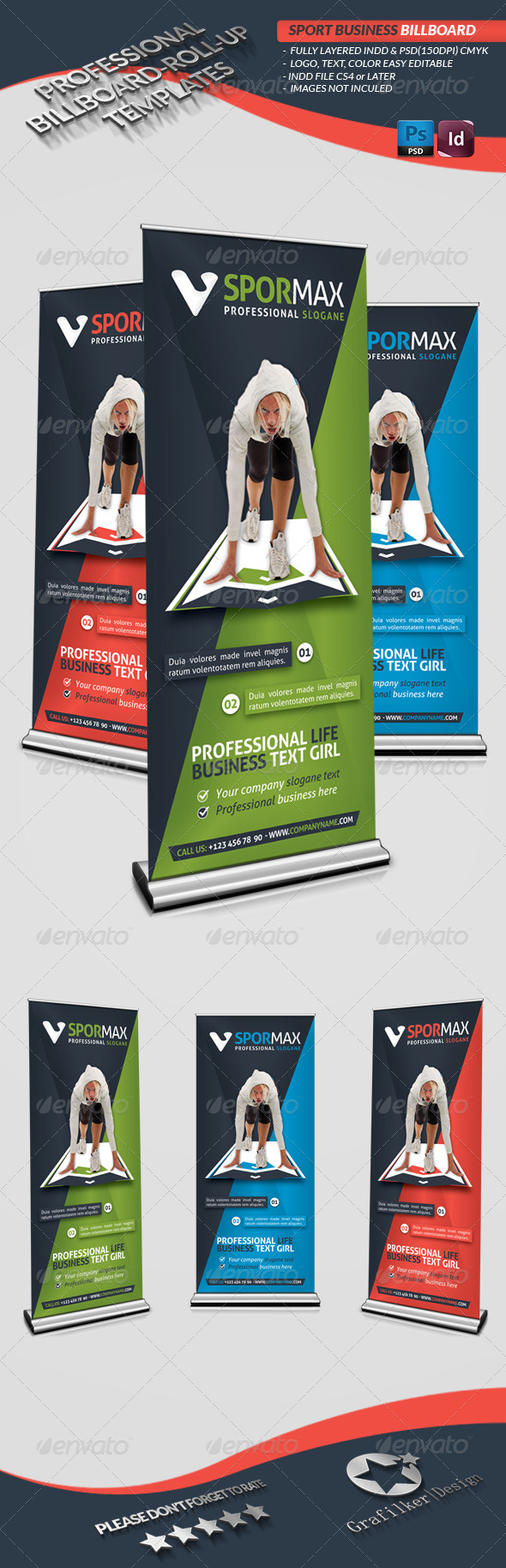 GraphicRiver Sports Roll-Up Templates 3942937