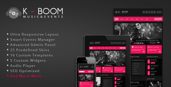 K-BOOM - Responsive Events & Music WordPress Theme - ThemeForest Item for Sale