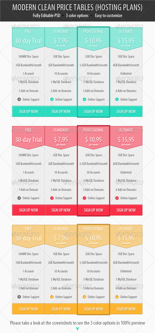 GraphicRiver Modern Clean Price Tables Hosting Plans 3938582