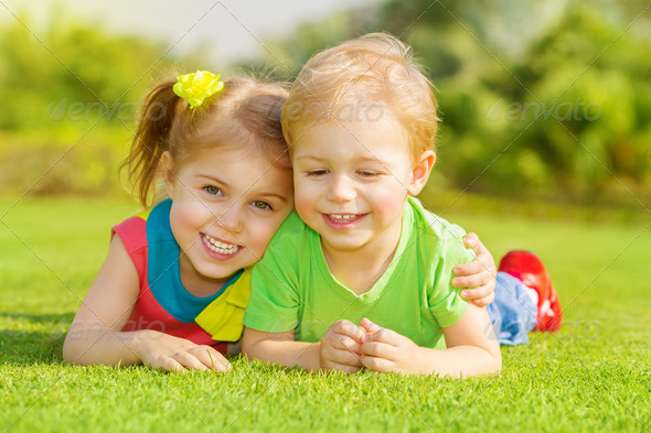 Happy children in park - Stock Photo - Images