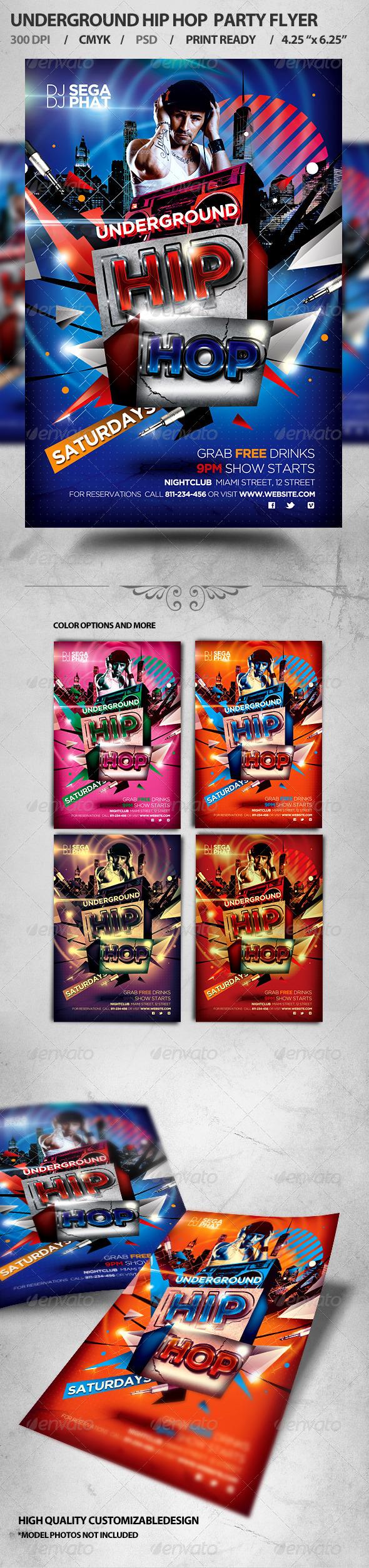 Underground Hip Hop Party Flyer - Flyers Print Templates