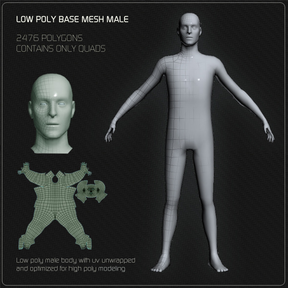 3DOcean Low Poly Base Mesh Male 4113744