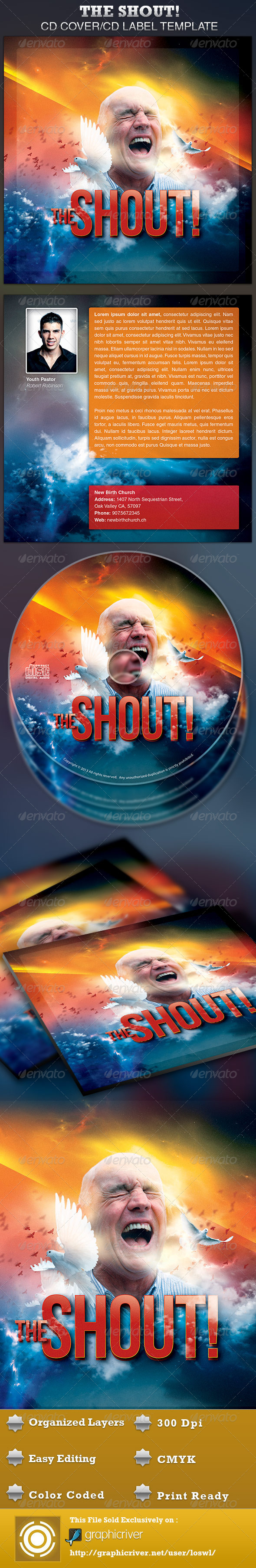 GraphicRiver The Shout CD Artwork Template 4114153