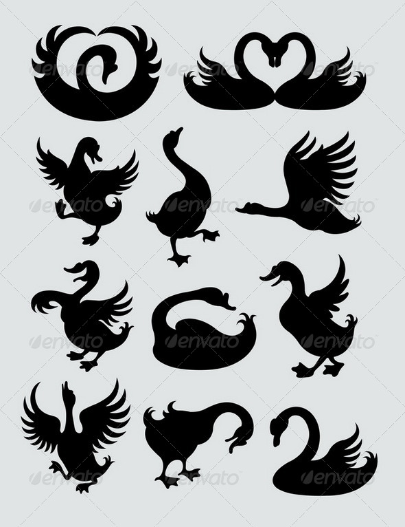 GraphicRiver Duck and Swan Silhouettes 4114357