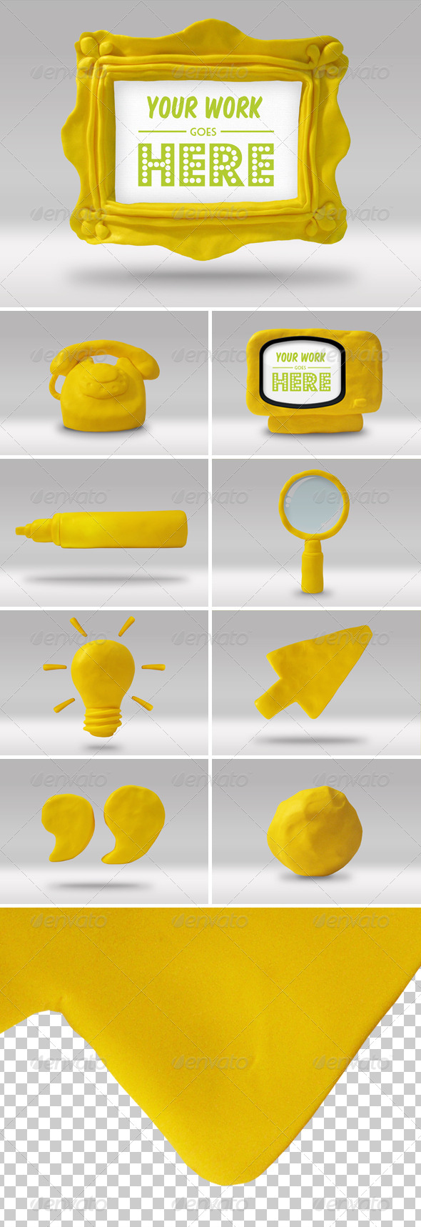 Set of 9 Handmade High-res Play Doh Icons
