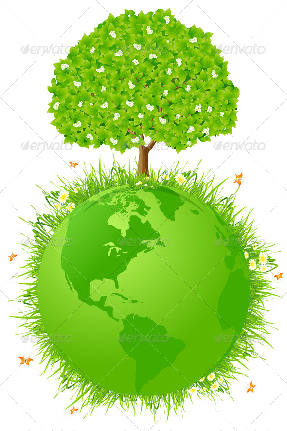 Planet Earth with Tree - Flowers & Plants Nature