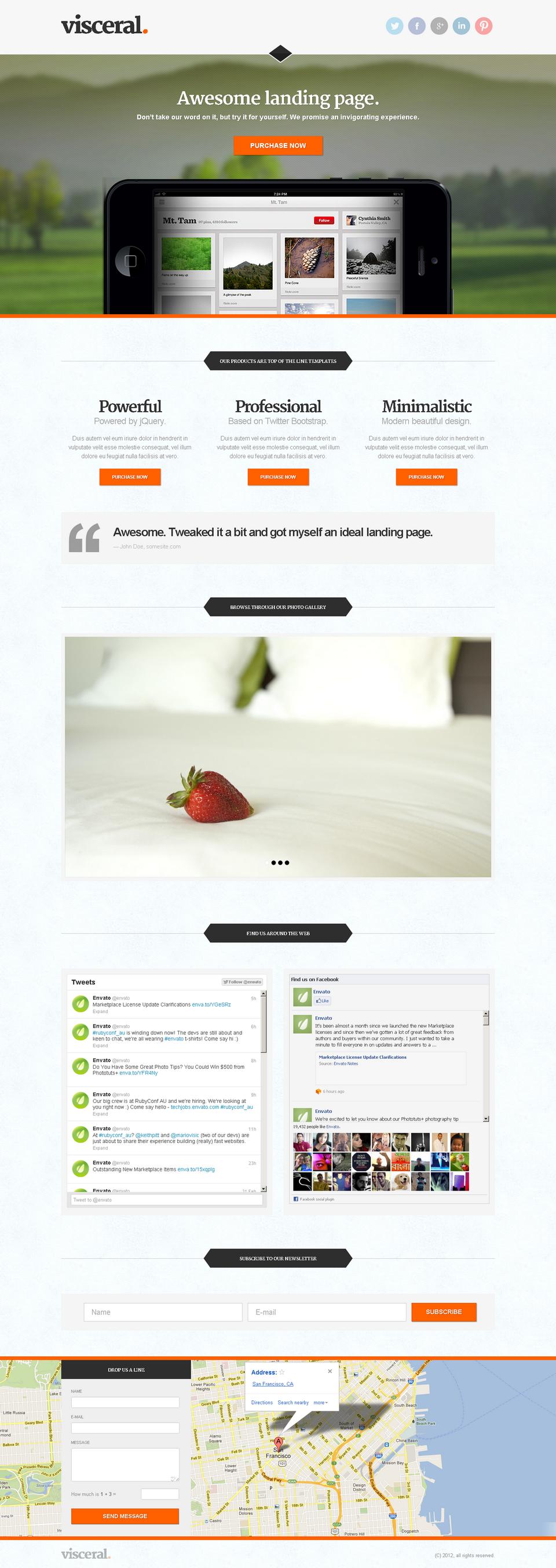 Visceral - Premium Multipurpose Landing Page - Visceral - black iPhone layout, orange theme