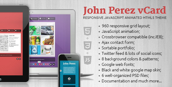 J.P. - Responsive JavaScript Animated HTML5 vCard - Virtual Business Card Personal